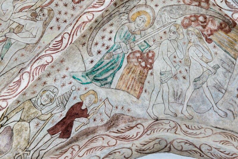 Een engel die Adam en Vooravond van paradijs verdrijven stock foto