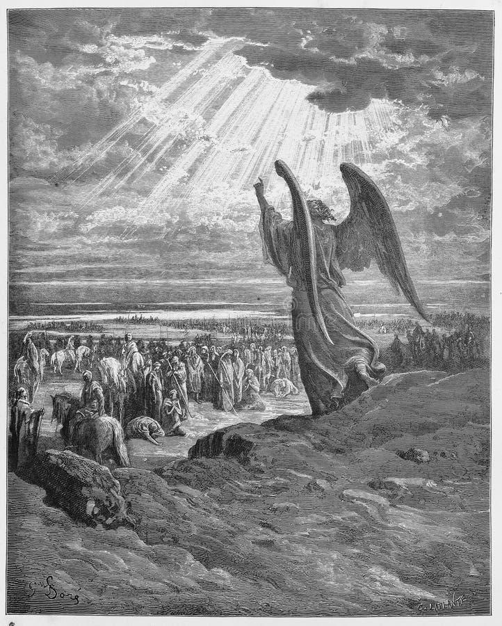 Een engel verschijnt aan Israelites stock foto's