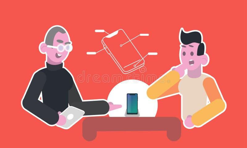 Een ervaren adviseur toont een nieuwe moderne telefoon aan een cliënt voor een jonge mens vector illustratie