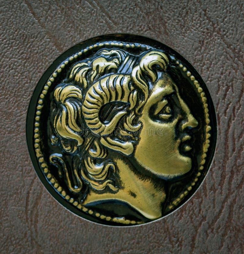 Een exemplaar van het oude Griekse muntstuk, Alexander van Macedon, 3de cent stock afbeelding