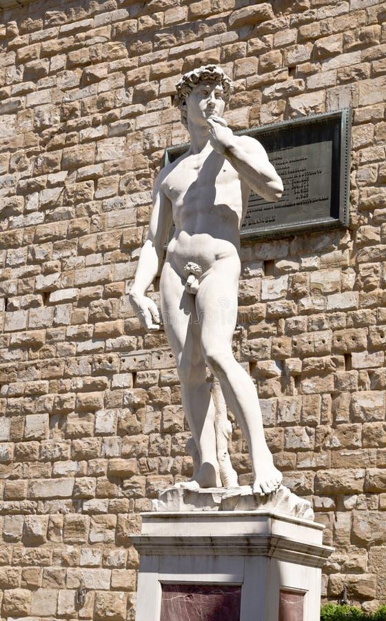 Een exemplaar van het standbeeld van David door Michelangelo stock afbeeldingen
