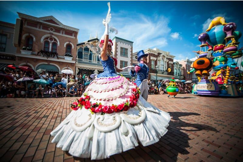 Een exorbitante viering in Disneyland stock afbeeldingen