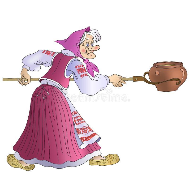 Een fabelachtige oma in nationaal Witrussisch kostuum stock illustratie