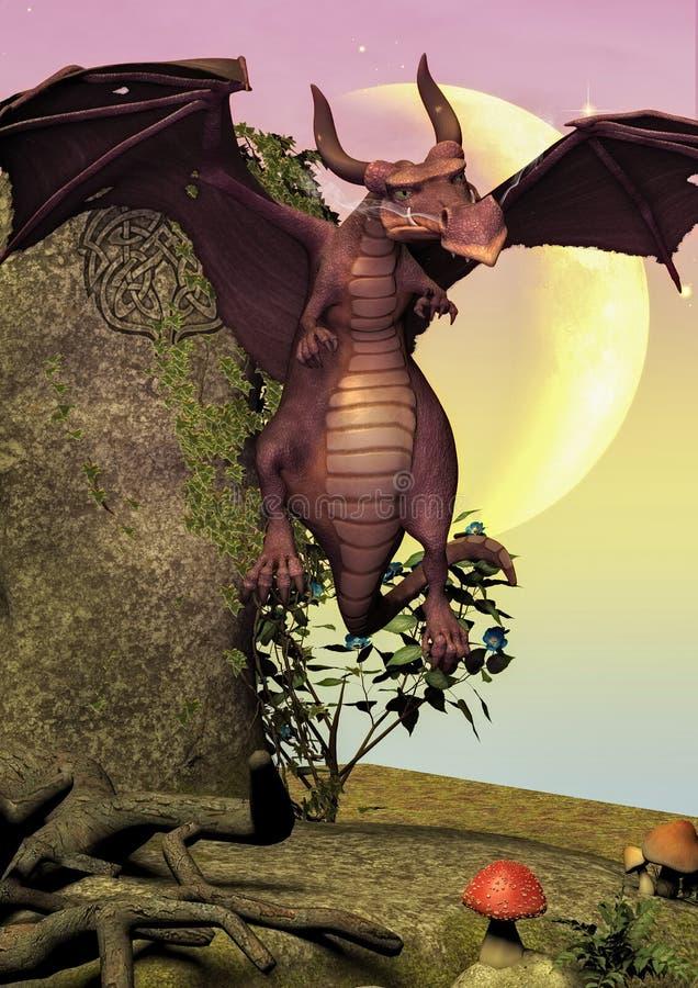 Een fairytalescène met een weinig roze draak die, met een reusachtige maan achter het vliegen royalty-vrije illustratie