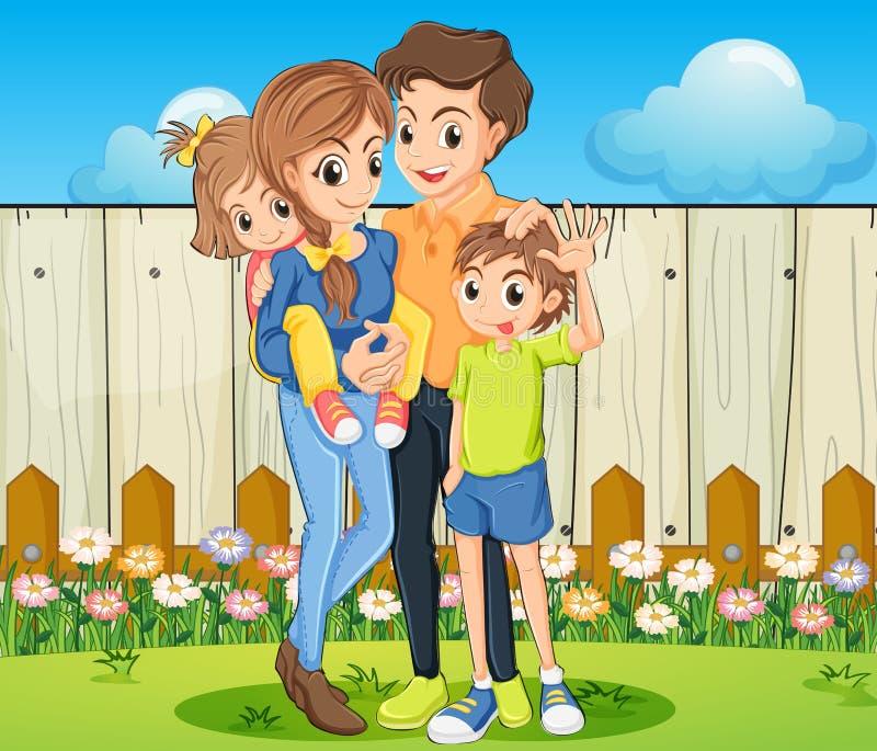 Een familie bij de binnenplaats met een houten omheining stock illustratie