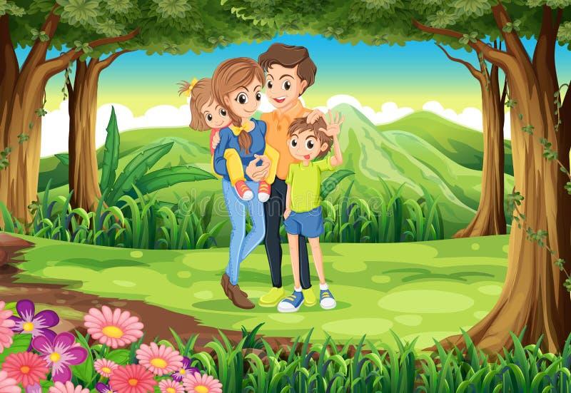 Een familie bij de wildernis vector illustratie