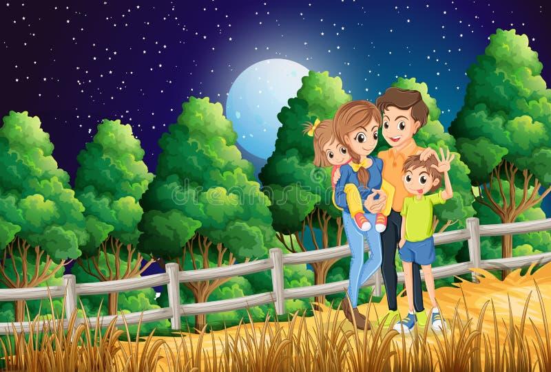 Een familie bij het bos vector illustratie