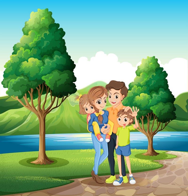 Een familie bij riverbank vector illustratie