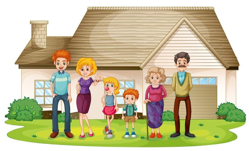 Een familie buiten hun groot huis vector illustratie