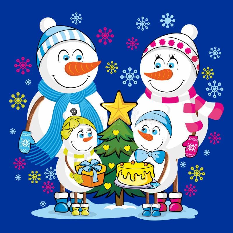 Een familie van gelukkige sneeuwmannen viert Kerstmis en Nieuwjaar stock illustratie