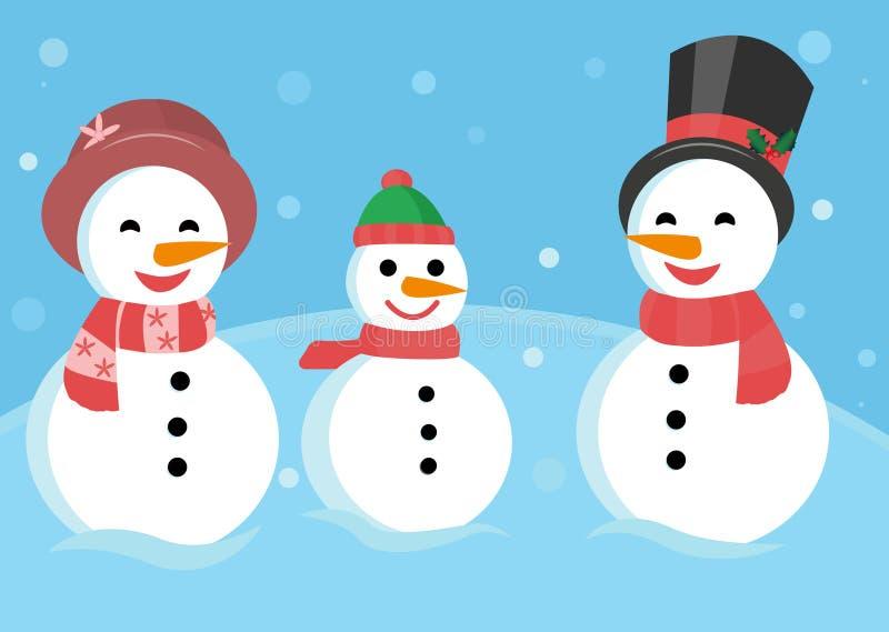 Een familie van sneeuwmannenbeeldverhaal vector illustratie