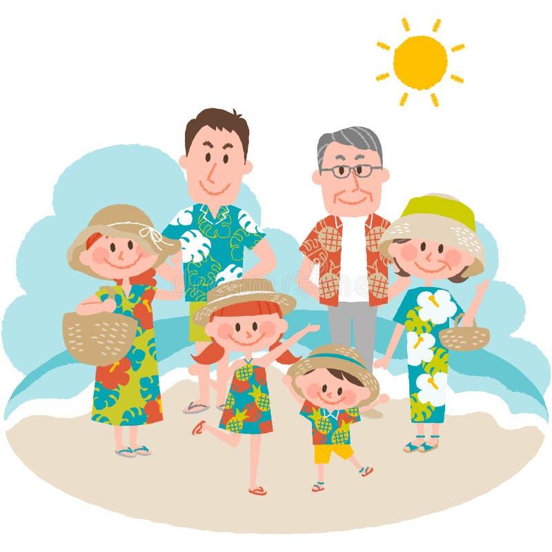 Een familievakantie op beachfront vector illustratie