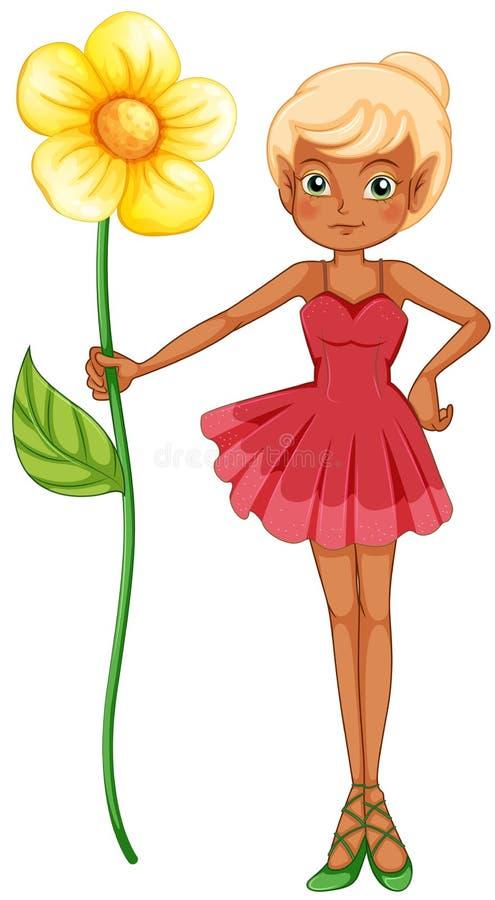 Een fee die een grote bloem houden vector illustratie