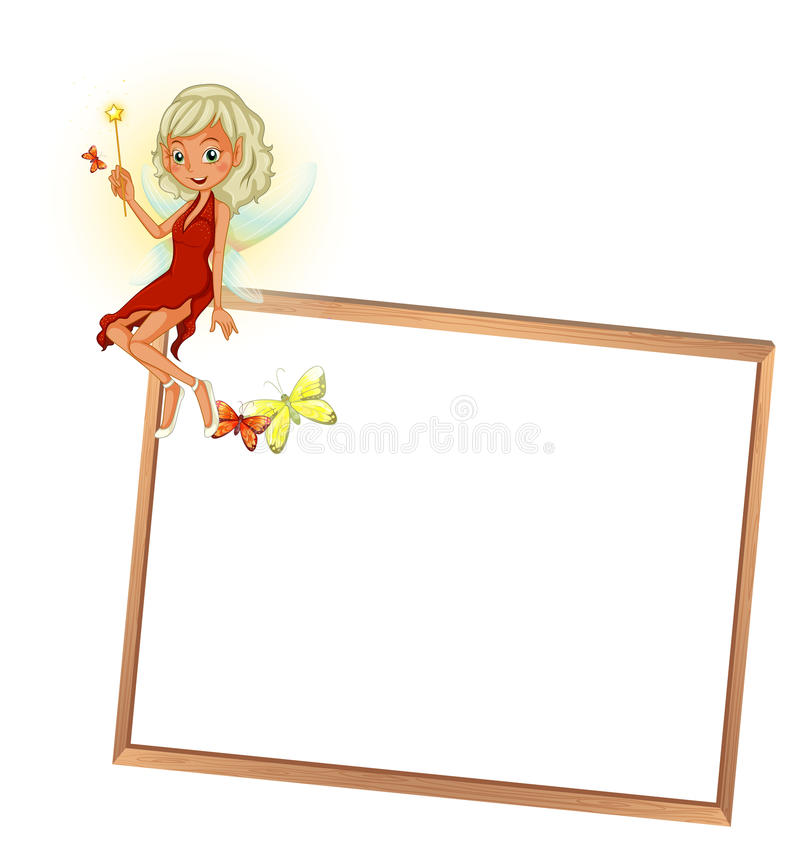 Een fee met een rode kleding en een leeg uithangbord royalty-vrije illustratie