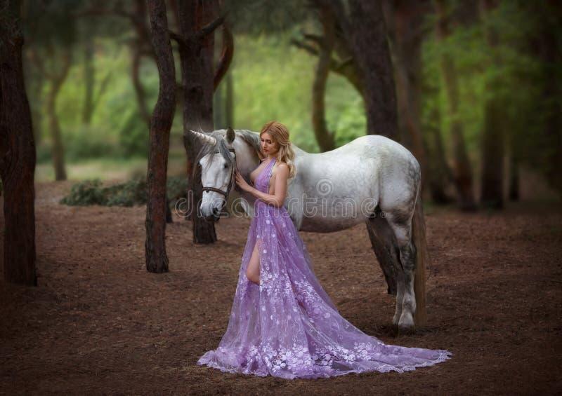 Een fee in een purpere, transparante kleding met een lange trein - ving een eenhoorn Fantastisch magisch, stralend paard Blonde royalty-vrije stock foto