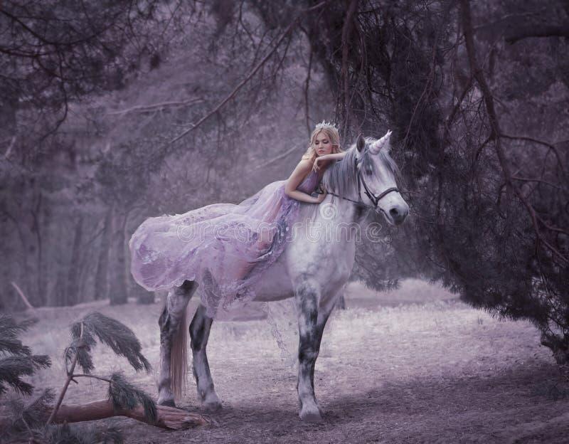Een fee in een purpere, transparante kleding met een lange vliegende trein ligt op een eenhoorn De schoonheid van de slaap Blonde stock afbeelding