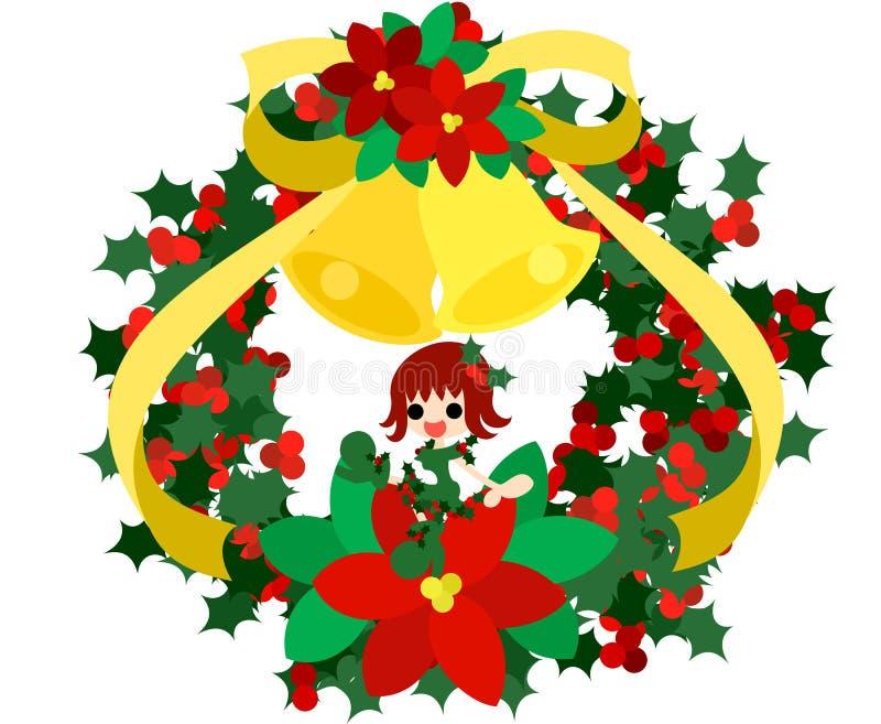 Een fee van de groene Kerstmiskroon royalty-vrije illustratie