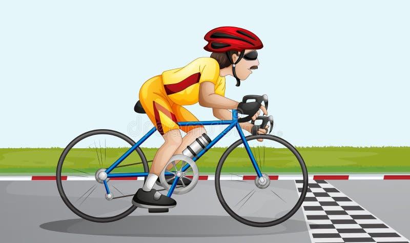 Een fietser dichtbij de afwerkingssteeg stock illustratie