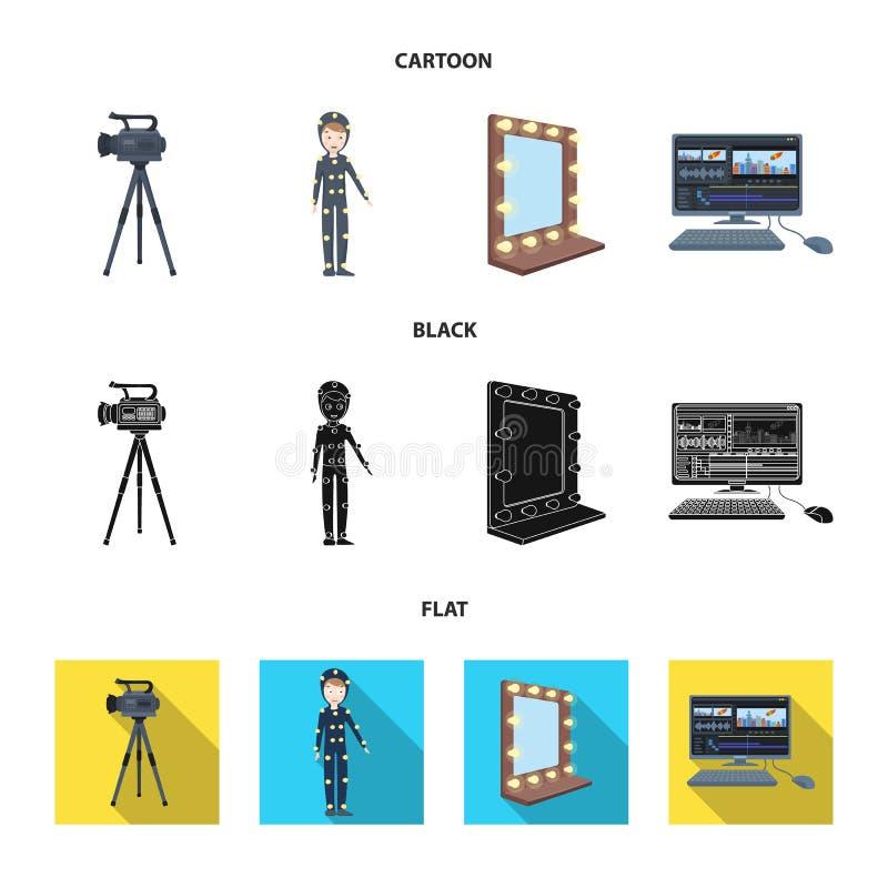 Een filmcamera, een kostuum voor speciale gevolgen en ander materiaal Makend films geplaatst inzamelingspictogrammen in beeldverh royalty-vrije illustratie