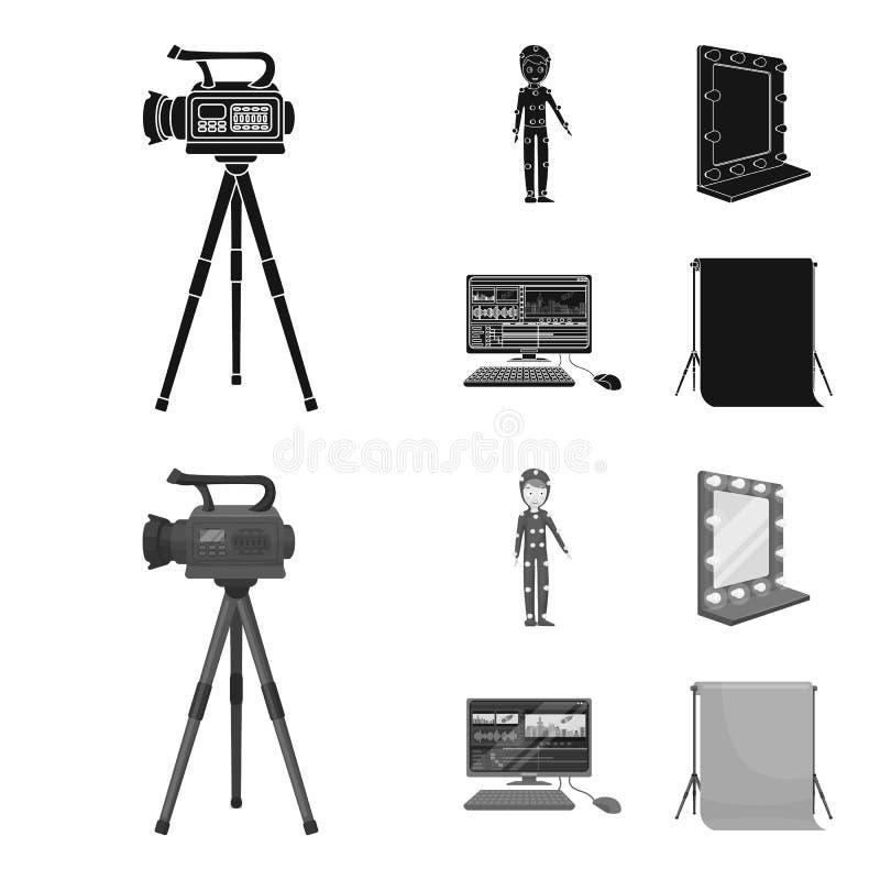 Een filmcamera, een kostuum voor speciale gevolgen en ander materiaal Makend films geplaatst inzamelingspictogrammen in zwarte, m stock illustratie