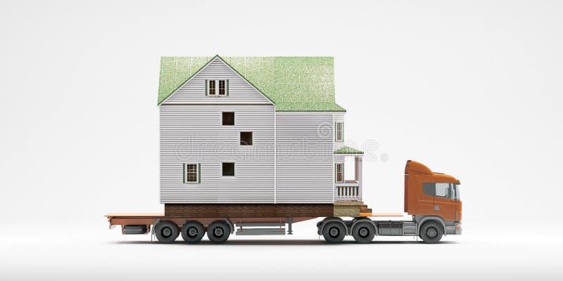 Een flatbed gearticuleerde vrachtwagen laadde met een huis dat op een witte achtergrond wordt geïsoleerd Allebei zijn modellen Go stock illustratie