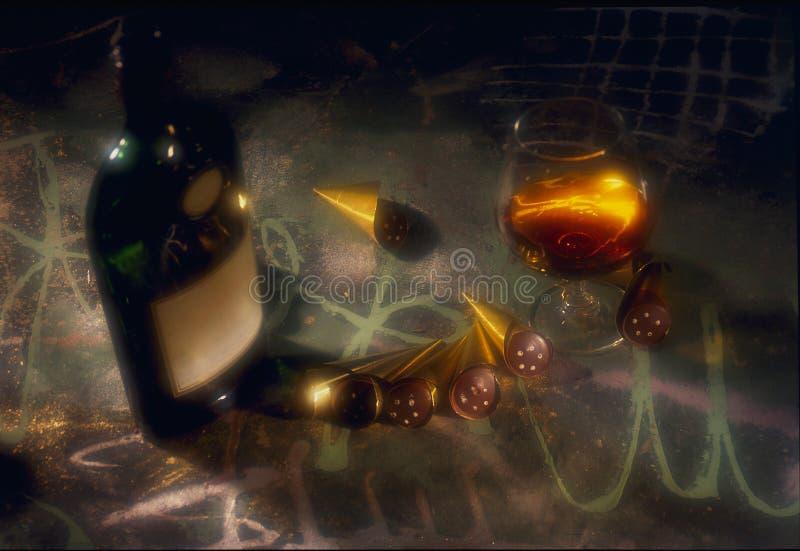 Een fles brandewijn op de lijst met een glas van CH royalty-vrije stock foto's