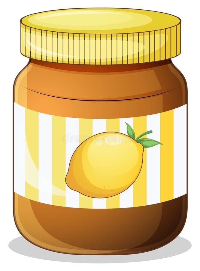 Een fles citroenjam stock illustratie