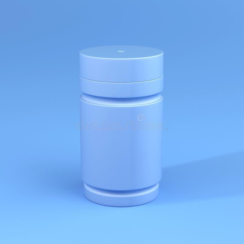 Een Fles met Blauw kleurenthema, Minimaal concept stock afbeelding