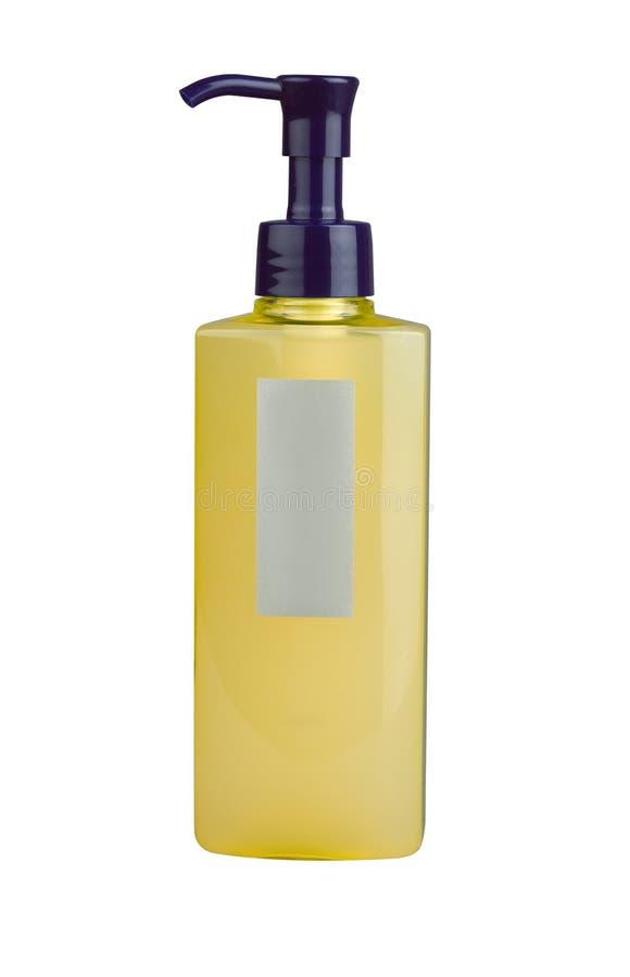 Een fles shampoo met leeg etiket royalty-vrije stock foto