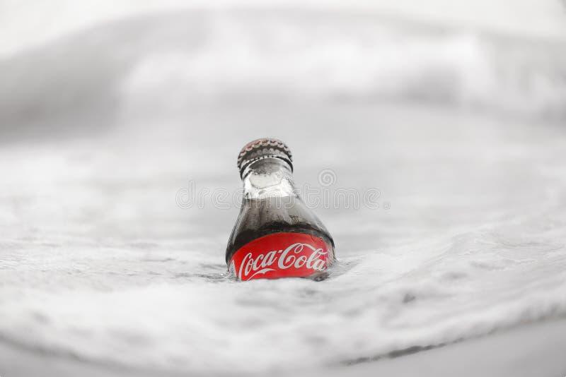 Een fles van Coca-Cola in het ijzige water stock foto