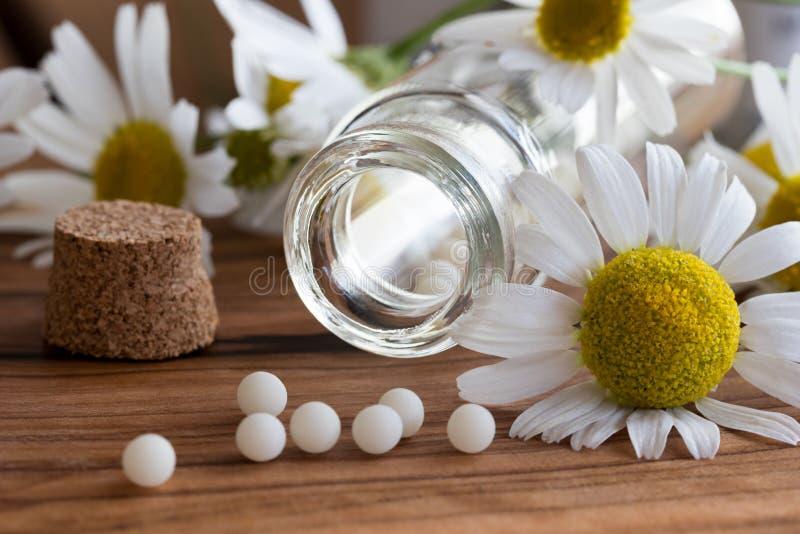 Een fles van homeopathische druppeltjes met kamille bloeit royalty-vrije stock afbeeldingen
