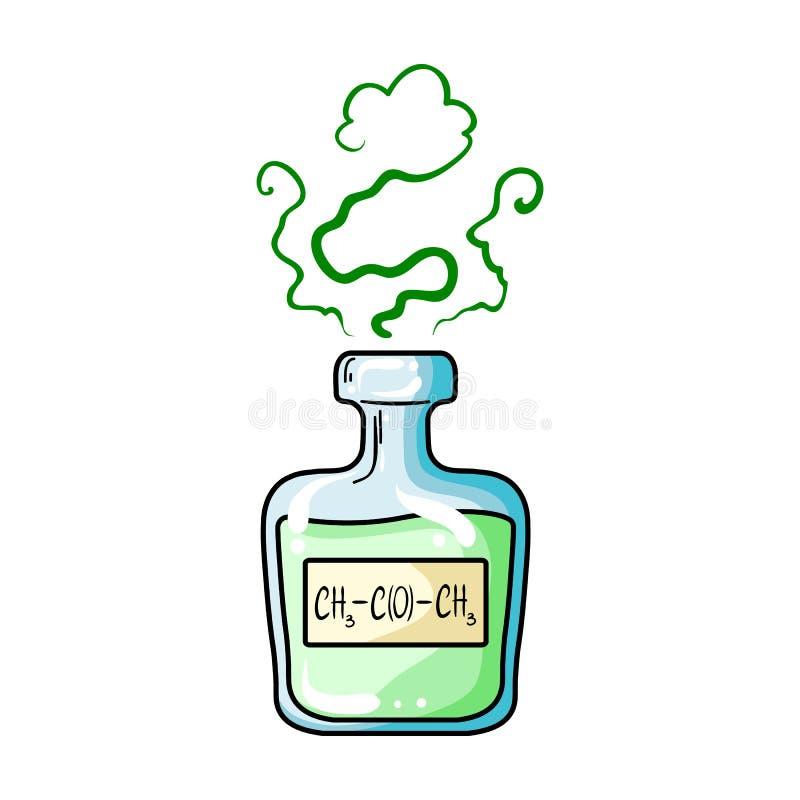 Een flesje groen drankje Geneesmiddelen voor diabetici Diabetes enig pictogram in illustratie van de het symboolvoorraad van de b royalty-vrije illustratie