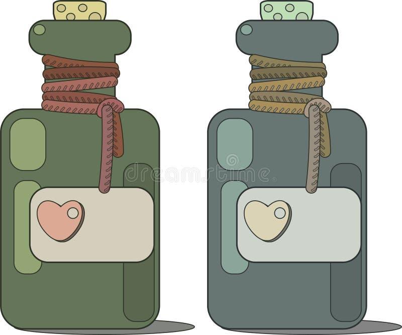 Een flesje liefdedrankje Etiket met hart en cork stock illustratie