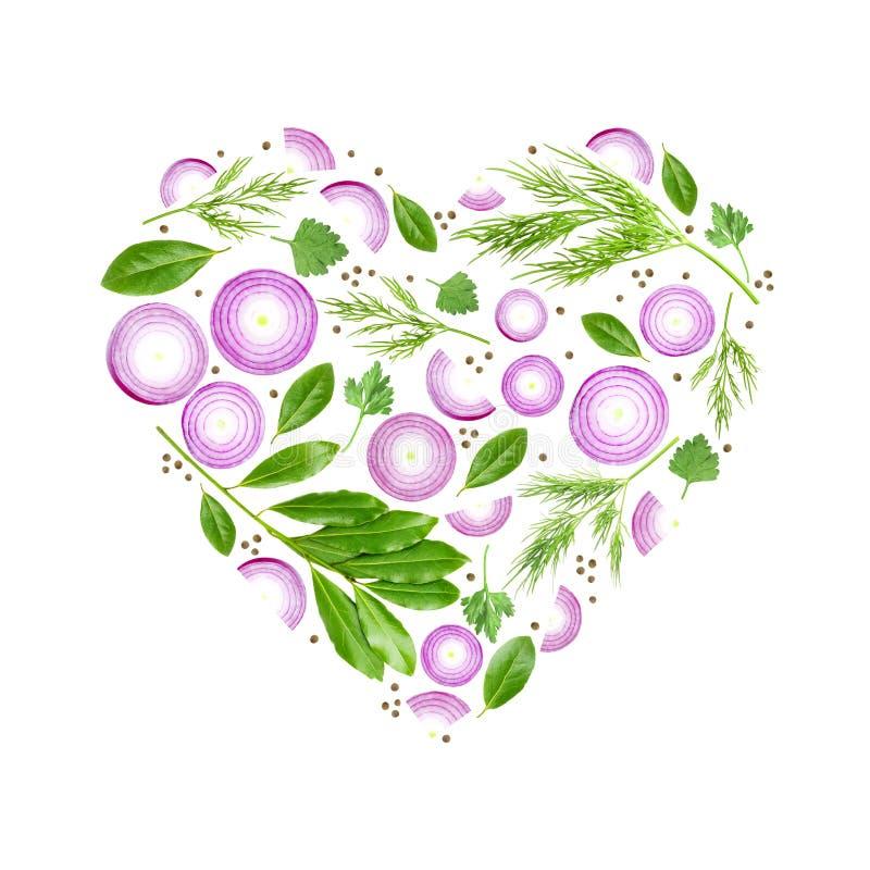 Een foto van purpere gesneden ui, dille, peterselie en laurier gaat weg Het dieetconcept in de hartvorm Een luchtvoedselfoto van  royalty-vrije illustratie