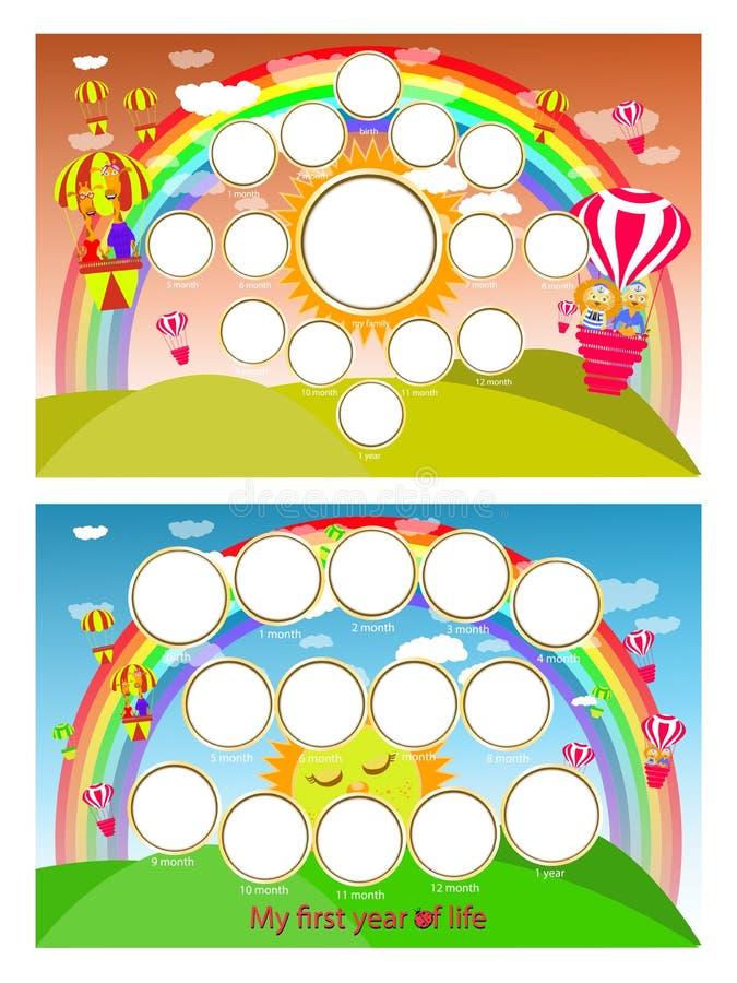 Een fotokader van een regenboog en een ballon in de hemel Twaalf maanden van ontwikkeling Horizontale illustratie voor uw ontwerp stock illustratie