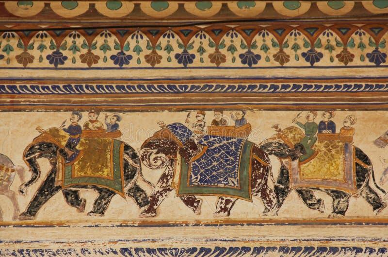 Een fresko in de stad van Mandawa royalty-vrije stock foto's