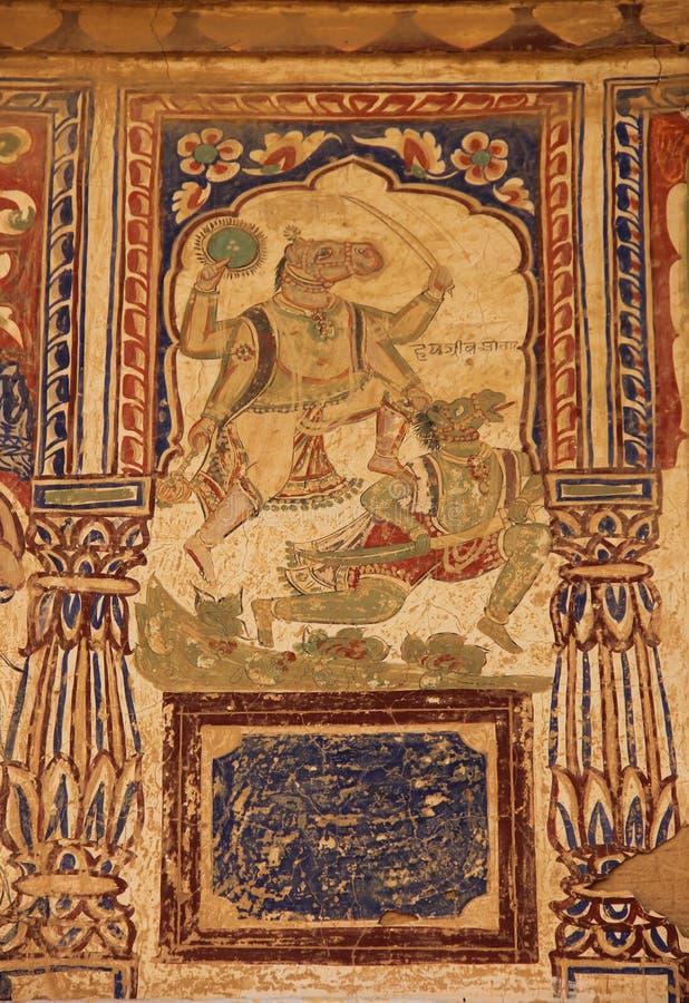 Een fresko in de stad van Mandawa royalty-vrije stock afbeeldingen