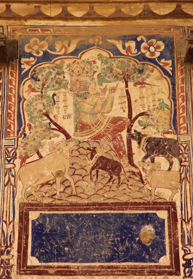 Een fresko in de stad van Mandawa stock afbeeldingen