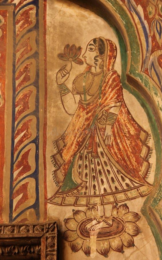 Een fresko in de stad van Mandawa stock afbeelding