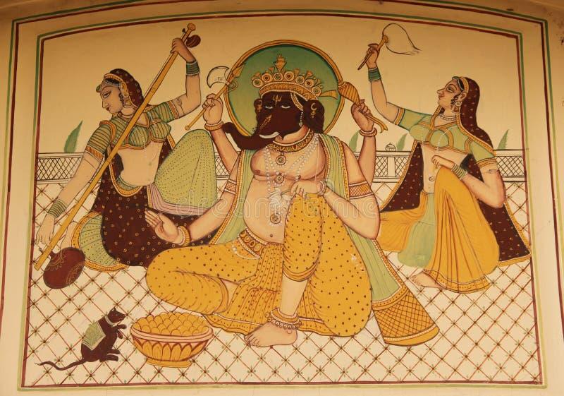Een fresko in de stad van Mandawa royalty-vrije stock fotografie