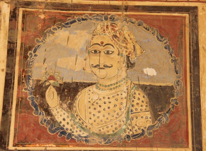 Een fresko in de stad van Mandawa stock fotografie