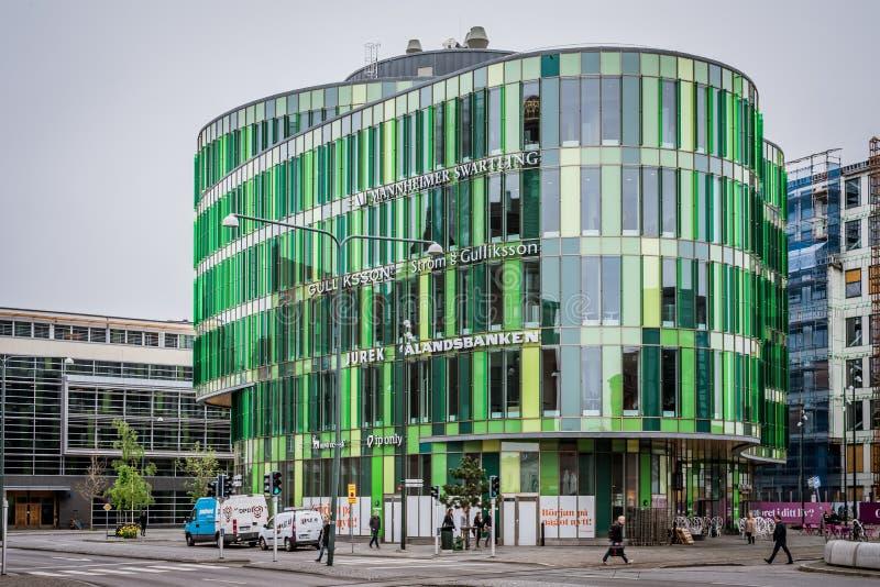 Een futuristisch groen gebouw in Malmoe, Zweden royalty-vrije stock afbeelding