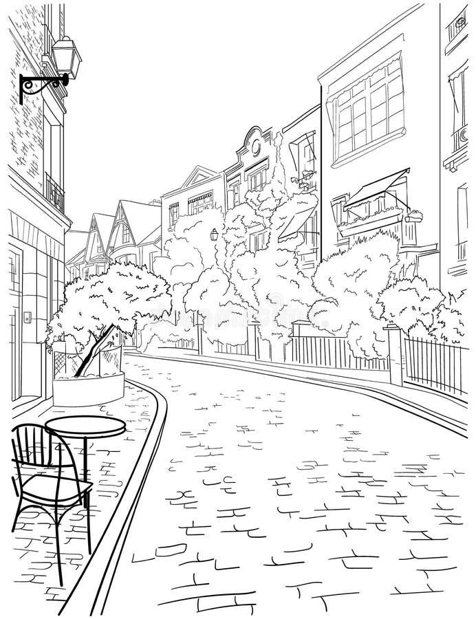 Een gang door het stadscentrum van Parijs, beroemd district van Montmartre royalty-vrije illustratie
