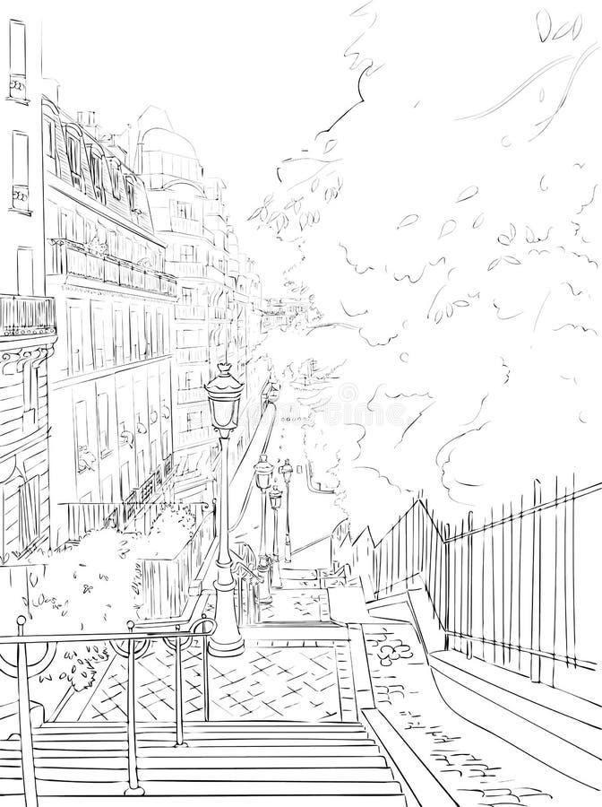 Een gang door het stadscentrum van Parijs, het beroemde district van Montmartre stock illustratie