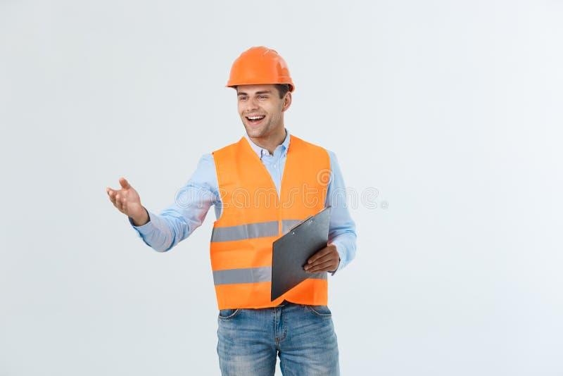 Een geïsoleerde contractant met van hem deelt voor een handdruk uit stock afbeeldingen