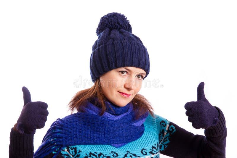 Een gebaar met haar handen in orde stock afbeelding