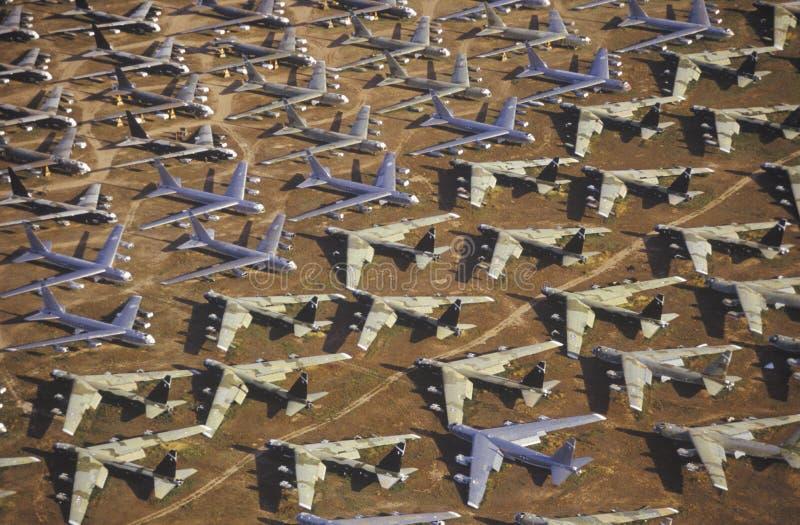 Een Gebied van B-52 Vliegtuigen, Davis Montham Air Force Base, Tucson, Arizona royalty-vrije stock foto