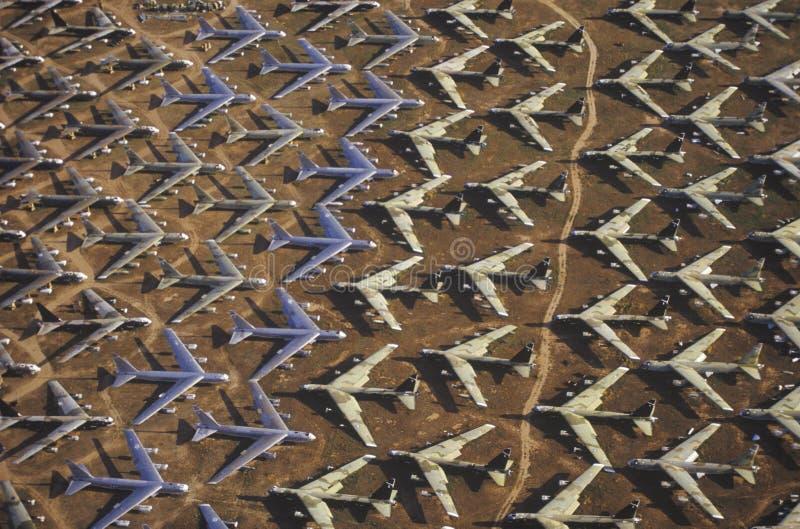 Een Gebied van B-52 Vliegtuigen, Davis Montham Air Force Base, Tucson, Arizona royalty-vrije stock foto's