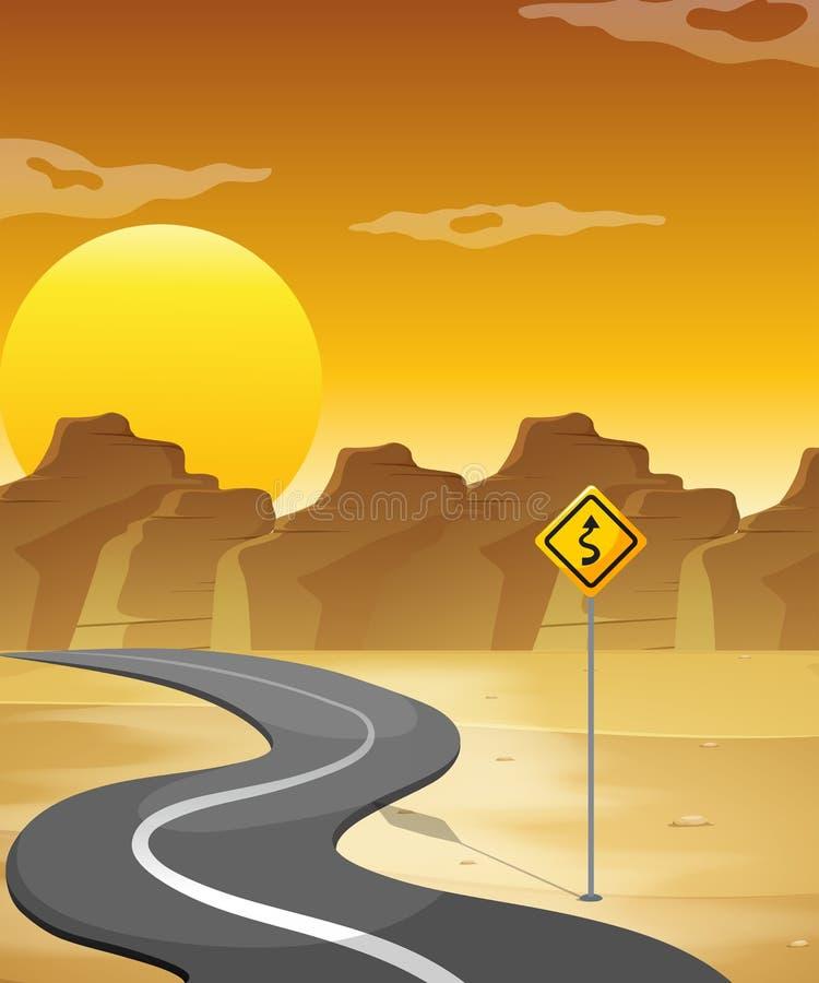 Een gebogen weg in de woestijn stock illustratie