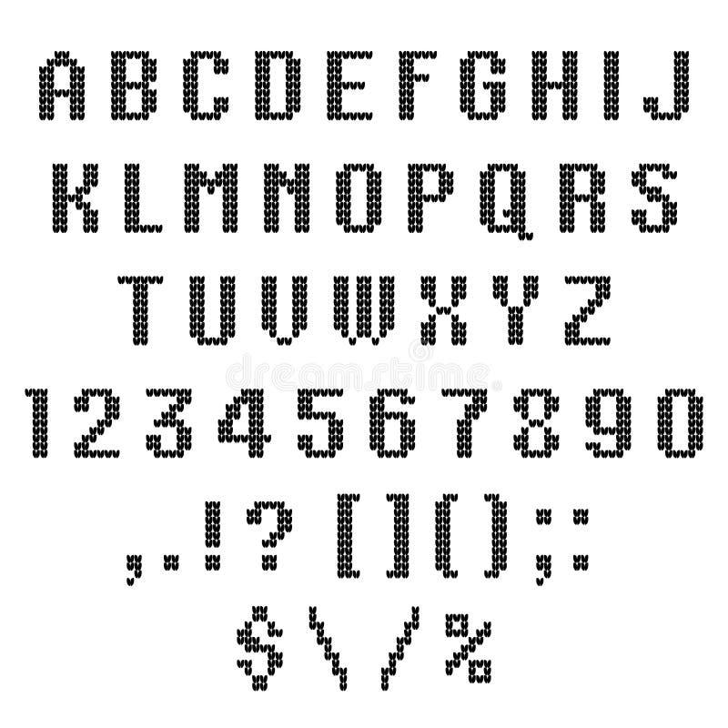 Een gebreid vectoralfabet Latijnse brieven , aantallen, punctuatie op witte achtergrond wordt geïsoleerd die ABC Vector illustrat vector illustratie